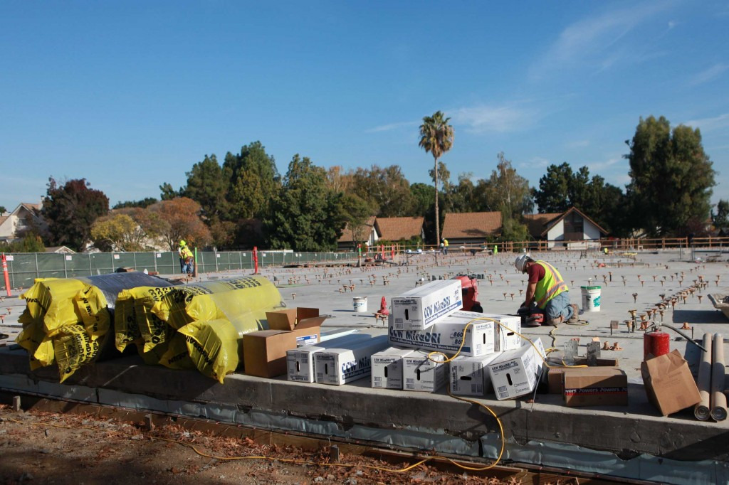 An affordable housing complex under construction on El Camino Real in Mountain View, on Nov. 6, 2014. The complex will provide 26 studio units for developmentally disabled individuals. (Yuqing Pan/Peninsula Press)