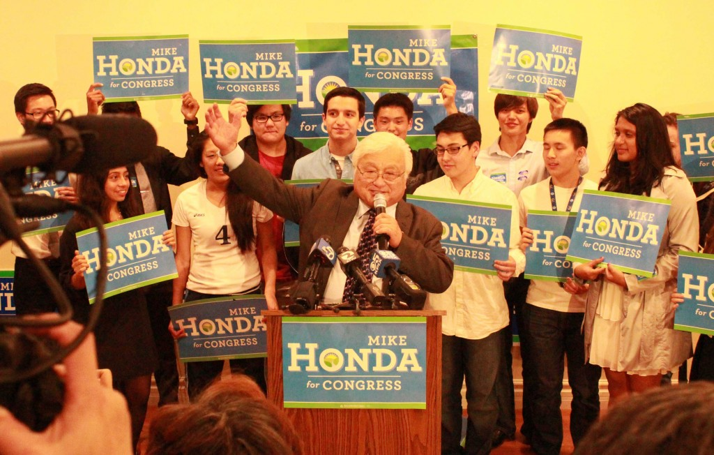 Mike Honda thanks his campaign staff for their work in the closest of his eighth Congressional races. The campaign organized a watch party Tuesday night at Zahir's Bistro in Milpitas. (Jay Lee/Peninsula Press)
