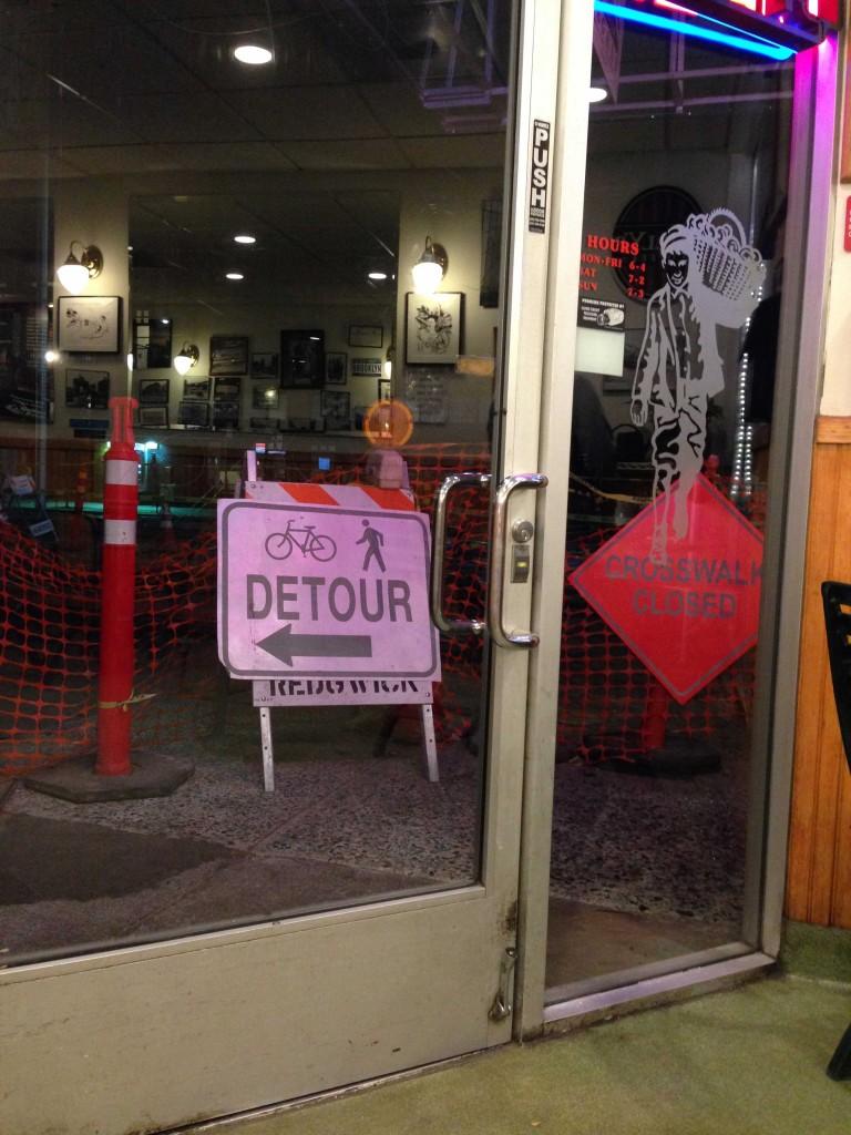 Street blockage makes accessing storefronts inconvenient for pedestrians. (Alex Hicks/Peninsula Press)
