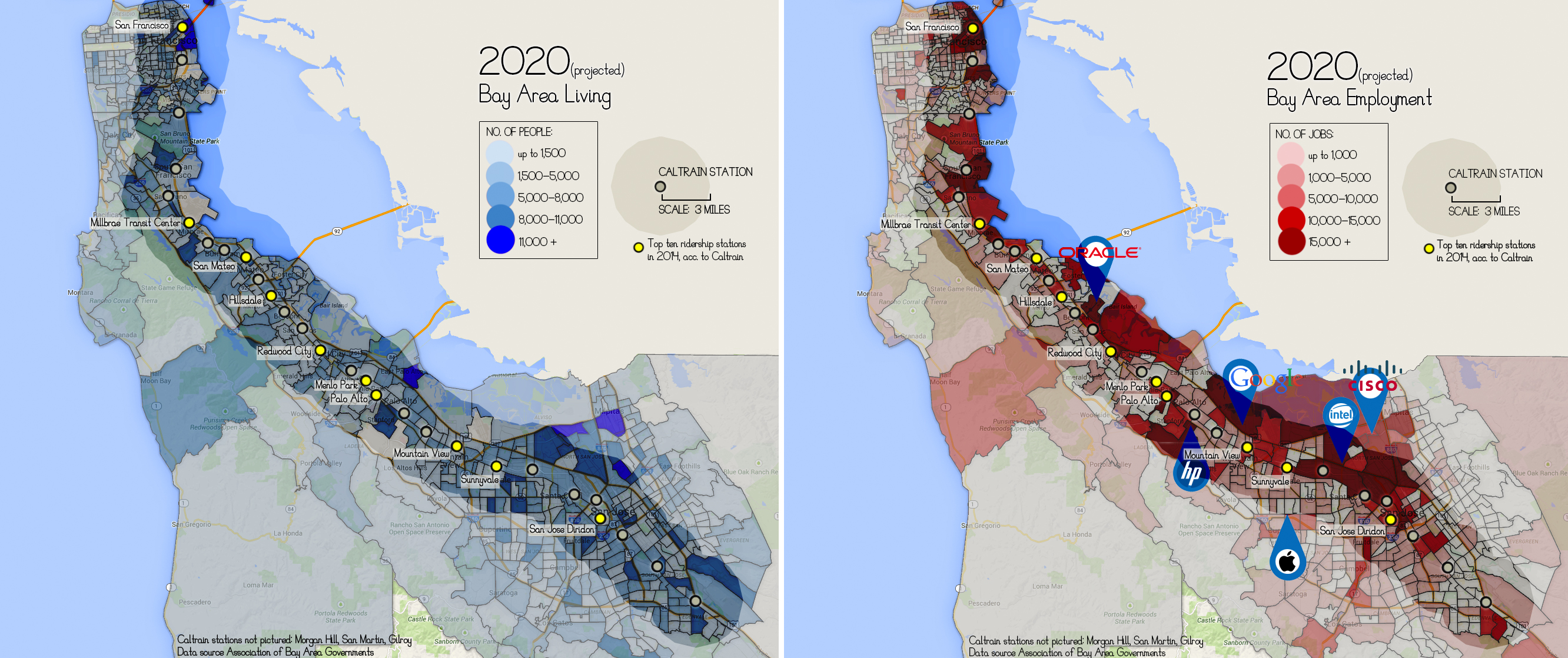 Data from the Association of Bay Area Governments shows the proximity of projected living and employment locations to Caltrain stations in 2020.