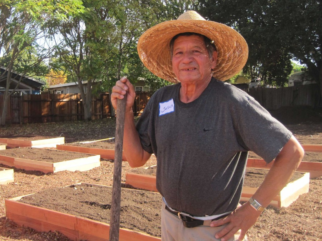 Jesus Becerra helps build Belle Haven's first community garden on Nov. 8, 2014. The garden opened later in the month, and about 25 families gained access to raised beds and gardening classes on site. (Farida Jhabvala Romero/Peninsula Press)