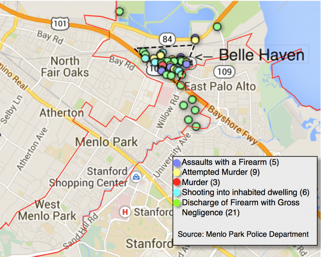 [CLICK TO EXPAND] Since 2011, all of Menlo Park's shooting incidents were in Belle Haven or within a mile radius. For an interactive map with more information about each incident, click here. (Farida Jhabvala Romero/Peninsula Press)