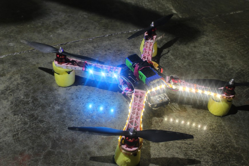 A lighted drone waits for the fight night buzzer. (Phoebe Barghouty/Peninsula Press)