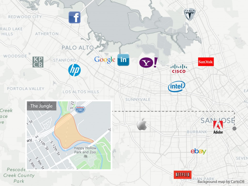 """[CLICK MAP TO EXPAND] In the vicinity of giant tech companies in Silicon Valley, San Jose's """"Jungle"""" was one of the country's largest homeless encampments. This site, where about 300 people lived, was shut down on Dec. 4, 2014. (Graphic by Yuqing Pan/Peninsula Press)"""