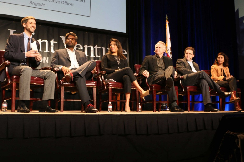 A panel of startup executives discuss the new realities facing Silicon Valley new ventures at Wednesday's State of the Valley conference in Santa Clara. (Carolina Wilson/Peninsula Press)
