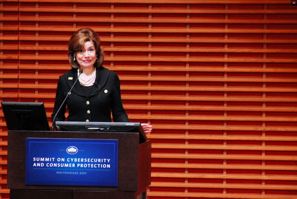 In introductory remarks, Maria Contreras-Sweet, administer of the U.S. Small Business Administration, emphasized the growing concern over U.S. payment fraud. (Catalina Ramirez-Saenz/The Stanford Daily)
