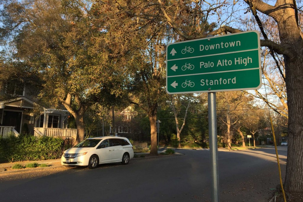 A directional sign for bikers to area landmarks, on a section of the Bryant Street Bicycle Boulevard that runs through the Old Palo Alto neighborhood. (Vignesh Ramachandran/Peninsula Press)