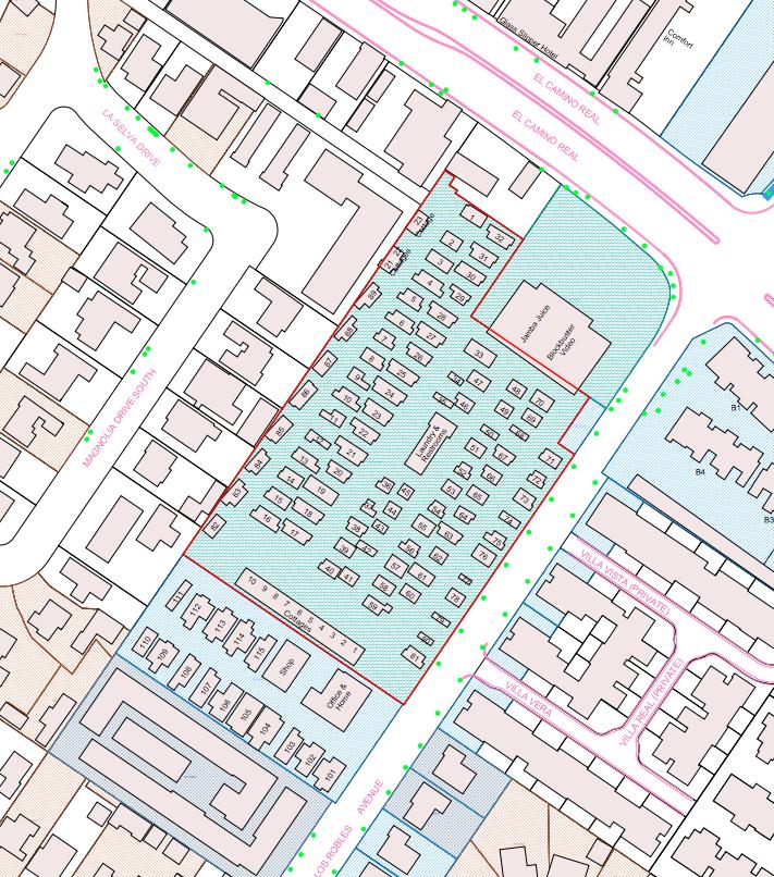 CLICK MAP TO VIEW ORIGINAL MAP. A more detailed map of the Buena Vista Mobile Home Park. (Screenshot / Original map by City of Palo Alto GIS)
