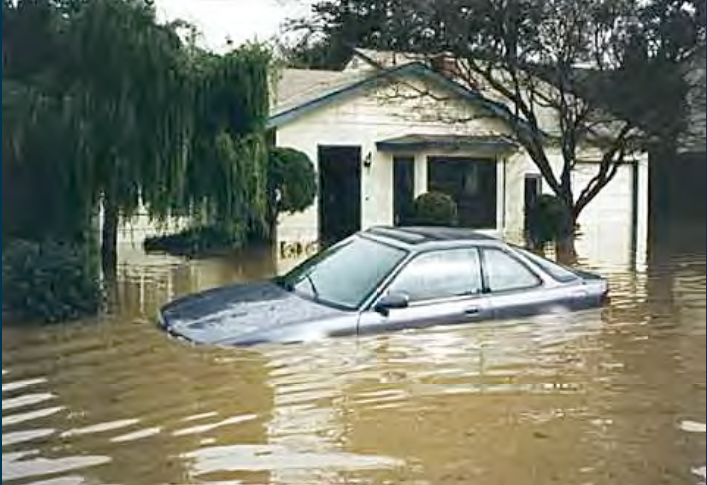 Flooding in Palo Alto on Feb. 3, 1998. (Photo courtesy of San Francisquito Creek Joint Powers Authority via San Francisco Bay Conservation and Development Commission (BCDC), the San Francisco Bay National Estuarine Research Reserve (NERR) and the National Oceanic and Atmospheric Administration (NOAA) Coastal Services Center.)