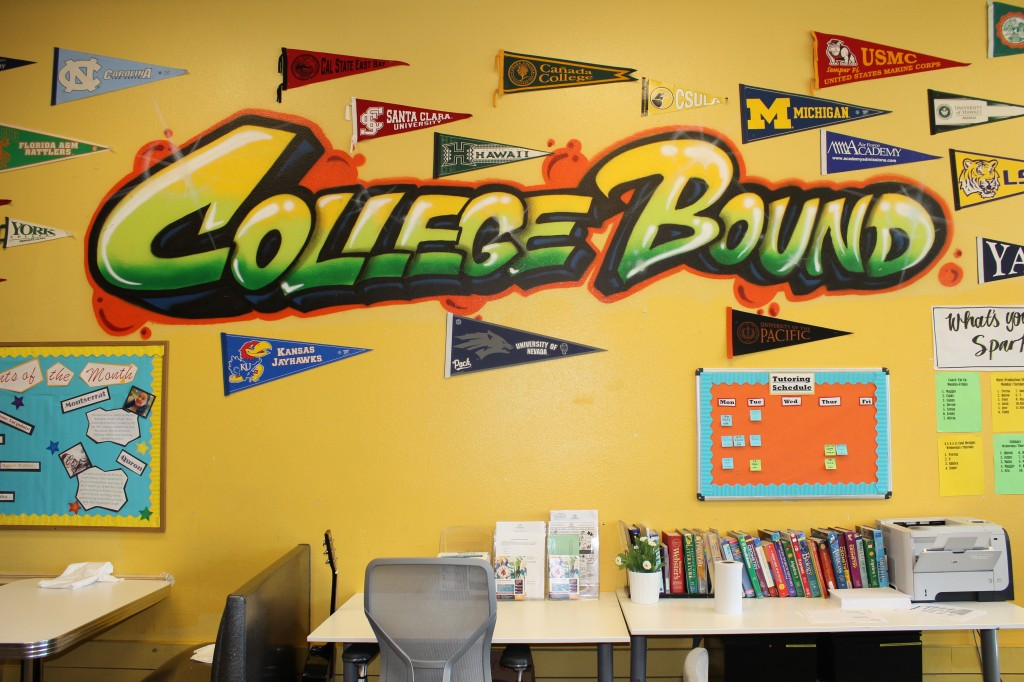 College Bound mural in the teen room at BGCP. (Jessica Tonn/Peninsula Press)