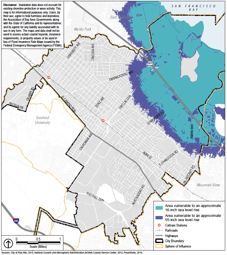 A map showing how the projected sea level rise would impact Palo Alto. (Image courtesy of the City of Palo Alto report)