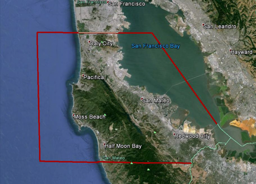 The vulnerability assessment area on the Peninsula. (Image courtesy of the California Coastal Conservancy)