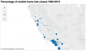 Mobile home lots closed across California. CLICK to launch full interactive graphic. (Data visualization by Katie Kramon/Peninsula Press)