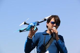 Fotokite's Sergei Lupashin demonstrates the company's flagship drone.