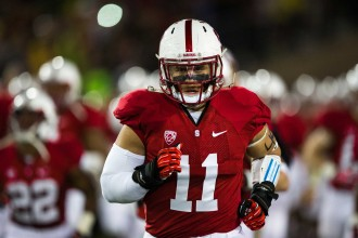 Shayne Skov pictured back in 2013, before the Stanford-Oregon football game. (Photo courtesy of Roger Chen/The Stanford Daily)