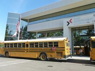 The exterior of BASIS Silicon Valley -- a prior IBM building. (Isha Salian/Peninsula Press)