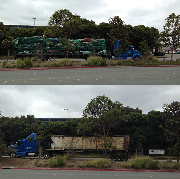 Top: A truck brings discarded cars into Sims facility for shredding. Bottom: Truck delivers auto shredder waste to landfill.
