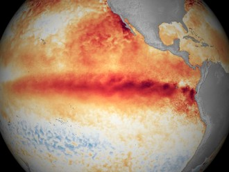"NOAA's image of El Niño strengthening, as of Oct. 9, 2015. The agency said El Niño is ""likely to peak in late fall/early winter, and gradually weaken through spring 2016."" (Image courtesy of NOAA Environmental Visualization Lab)"