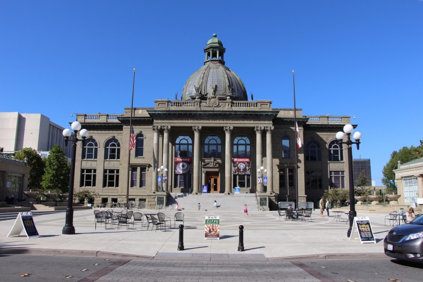 Old courthouse, now home to the San Mateo County History Museum, stands as a symbol against fast urban development in Redwood City. (Ana Santos/Peninsula Press)