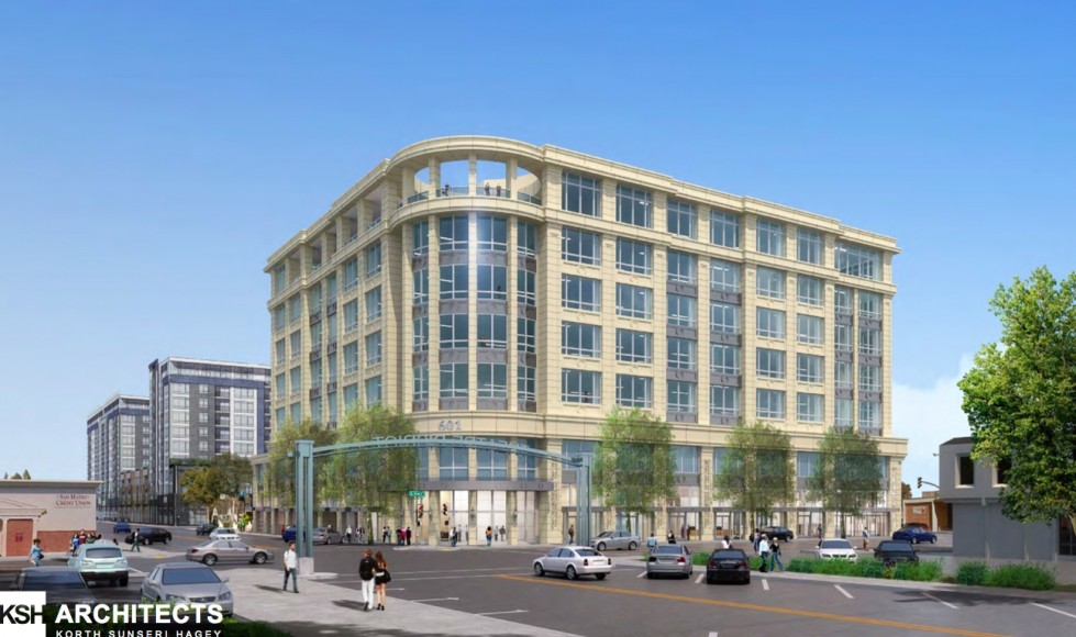 A proposed office development at 601 Marshall St. in Redwood City is now under public debate. (Image courtesy of City of Redwood City)