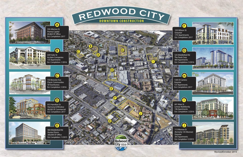Buildings currently under construction in downtown Redwood City. (Courtesy of City of Redwood City)