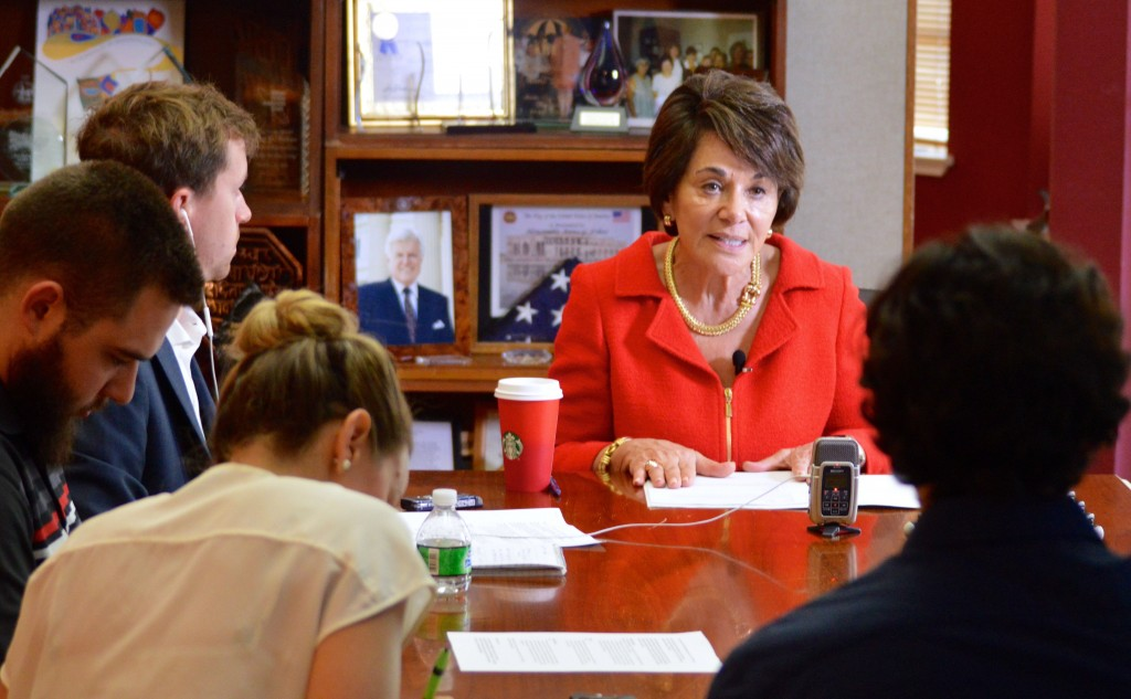 Congresswoman Anna Eshoo addresses Peninsula Press reporters during a roundtable discussion at her Palo Alto office on Oct. 30, 2015. (Kim Kenny / Peninsula Press)