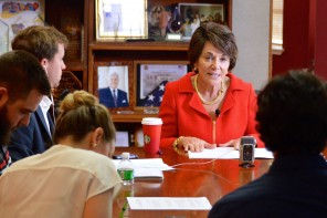 Congresswoman Anna Eshoo addresses Peninsula Press reporters during a press conference at her Palo Alto office on Oct. 30, 2015. (Kim Kenny / Peninsula Press)