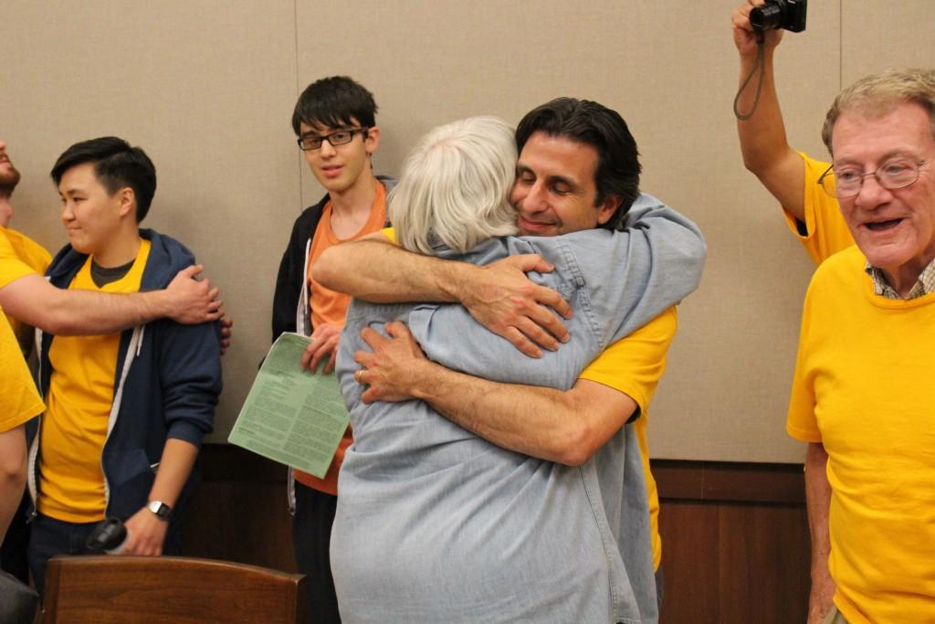 San José resident Kirk Vartan celebrates at the Sept. 29 meeting of the Santa Clara City Council. Vartan has long advocated for an urban farm to be built at the former BAREC site.