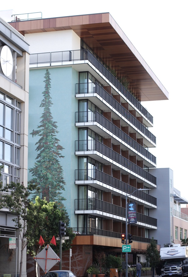 The Epiphany is a boutique hotel in downtown Palo Alto, just two blocks from the Caltrain station. It recently joined the bulk-discount Caltrain Go Pass program. (Jeff Barrera/Peninsula Press)