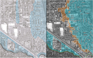 CLICK TO EXPAND MAP. FEMA's flood boundary maps of East Palo Alto. The map on the left shows the previous flood boundaries, and the map on the right shows the new boundaries, with the blue regions indicating a flood that is likely to occur during a 100-year period and the orange indicating a flood that is likely in a 500-year period. (Map courtesy of FEMA)