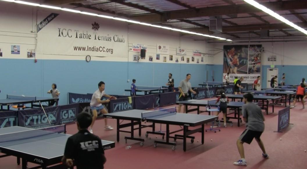 The practice floor of the India Community Center's table tennis center in Milpitas, California. (Saurabh Datar/Peninsula Press)