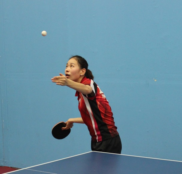Jiaqi Zheng, a student at Northwestern Polytechnic University in Fremont, practices at the India Community Center table tennis club in Milpitas, California. (Saurabh Datar/Peninsula Press)