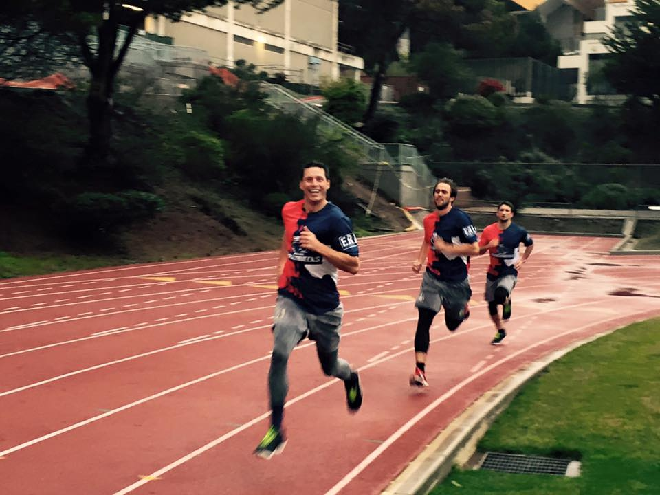 Beau Kittredge, Jimmy Mickle and Cassidy Rasmussen during a workout on the Kezar Stadium track. (Photo courtesy of Zibi Braniecki)
