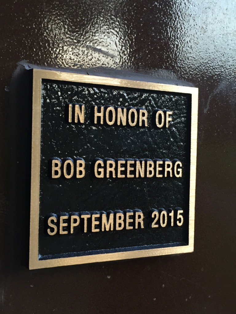 A plaque honors Bob Greenberg at the San Bruno municipal fields. (Kaitlyn Landgraf/Peninsula Press)