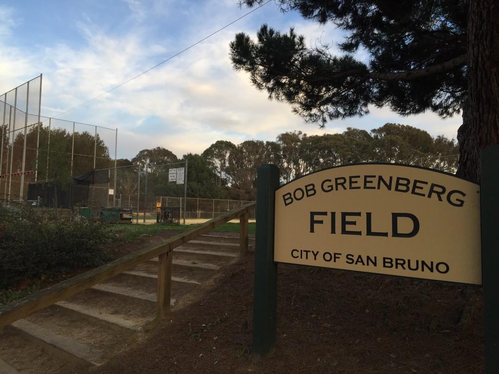 Nestled beside Highway 380 in San Bruno, Bob Greenberg field awaits the upcoming Junior Giants summer season. (Kaitlyn Landgraf/Peninsula Press)