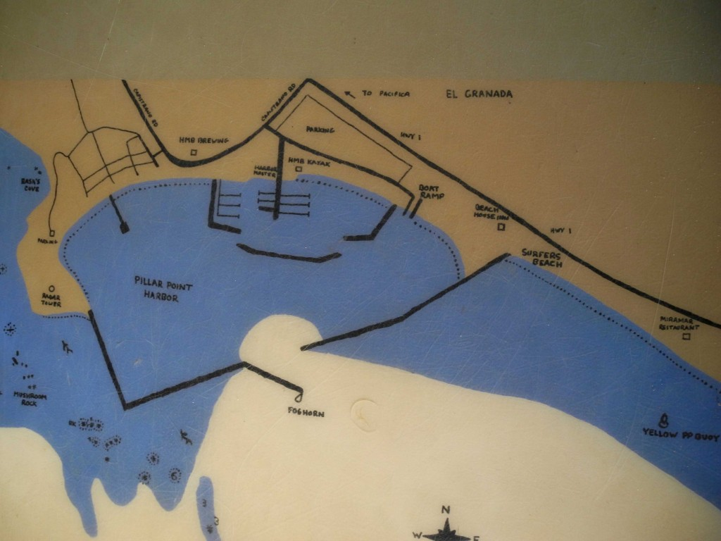 A map of the harbor on the counter of the HMB Kayak Co. (Rosemary Mena-Werth/Peninsula Press)