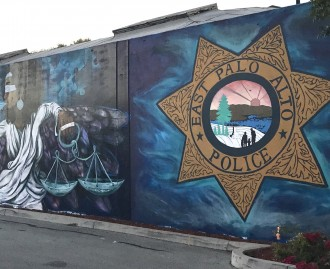 A mural at the East Palo Alto police station.