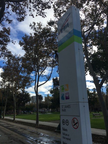 The St. James Park South VTA stop is in the middle of the park. (Tara McCullough/Peninsula Press)