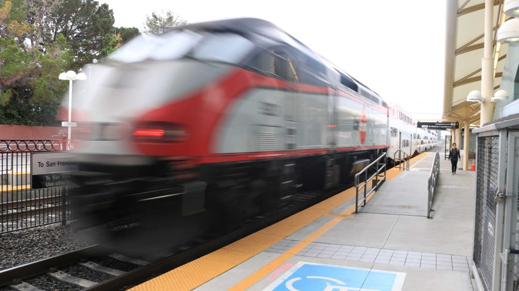 A Caltrain car leaves Millbrae Station towards San Francisco on Nov. 06, 2016. If Measure B passes, Caltrain would receive roughly $700 million for safety upgrades, $300 million for increasing services in Silicon Valley.