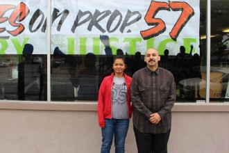 Charisse Domingo and Jose Valle, community organizers with Silicon Valley De-Bug, work with the families of youths who are being tried as adults. Silicon Valley De-Bug is a media and community organizing collective in San Jose, California. Pictured on Oct. 27, 2016. (Dylan Tull/Peninsula Press)