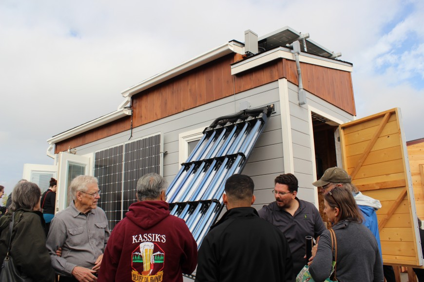 The California State University, Sacramento team, designed this zero-net energy Tiny House. The home features a large evacuated tube solar hot water heater that provides radiant heating during the winter and hot water year-round. (Siqi Lin/Peninsula Press)