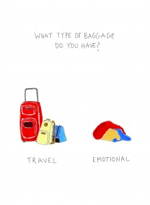 One of the cartoons accompanying breakup tales in Campbell's new cartoon book depicts travel vs emotional baggage. (Courtesy of Hilary Campbell)
