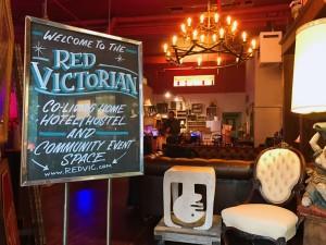 Front door of The Red Victorian. (Anna Yelizarova/Peninsula Press)