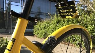 Ofo bike at a park in Palo Alto.