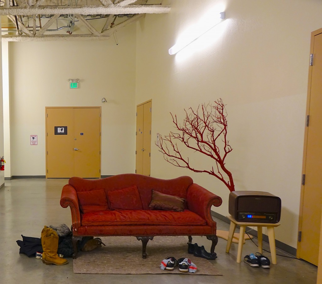 """The waiting area outside of """"Fear Is What We Learned Here"""" at Little Boxes Theater located Tennessee Street in San Francisco (Sejin Paik/Peninsula Press)"""