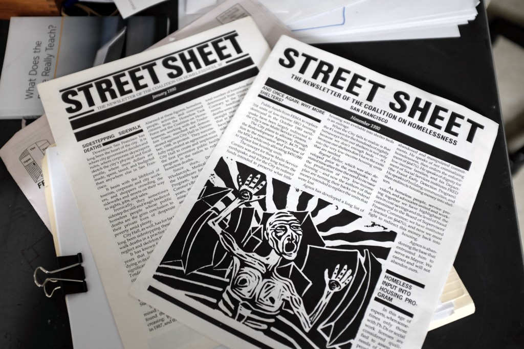 Early issues of Street Street, the world's longest running street newspaper, published by the Coalition on Homelessness. (Peter Arcuni/Peninsula Press)
