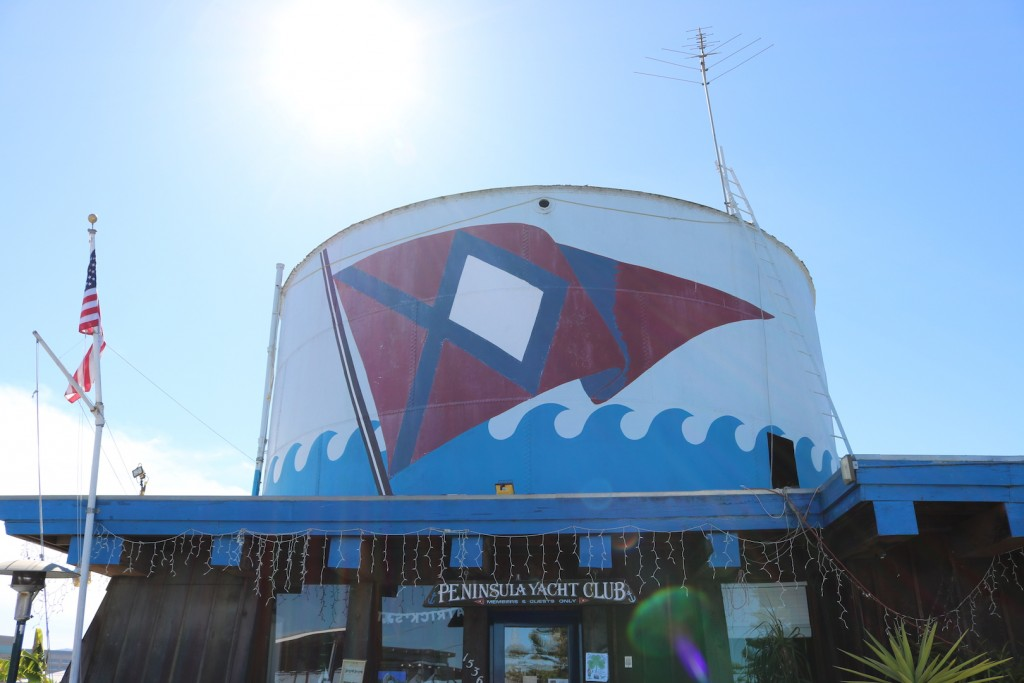 The Peninsula Yacht Club, which sits adjacent to Redwood Creek and Docktown Marina, is an old tankhouse that dates back to the dawn of the 20th century. Photo taken on March 11, 2017 in Redwood City, California. (Bethney Bonilla/Peninsula Press)