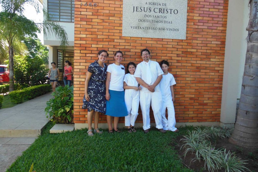 In December 2012, Sister Feddock had the first two baptisms of investigators she'd taught about the church. From left to right, Sister Dias, Sister Feddock, and new church members Paula and Isabel. (Photo courtesy of Breanne Feddock)