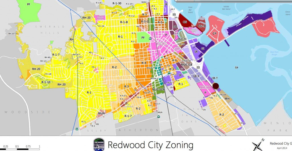 Redwood City Zoning.  Mobile Home areas are indicated in brown. Le Mar is indicated by the red dot. (Map courtesy of the City of Redwood City website; dot added by Peninsula Press)