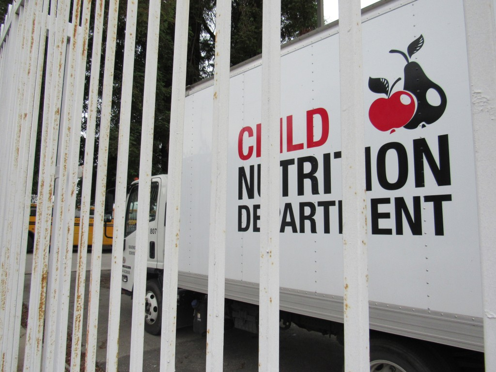 A truck for the Ravenswood Child Nutrition Department is parked at the district offices. (Virginia Fay/Peninsula Press)